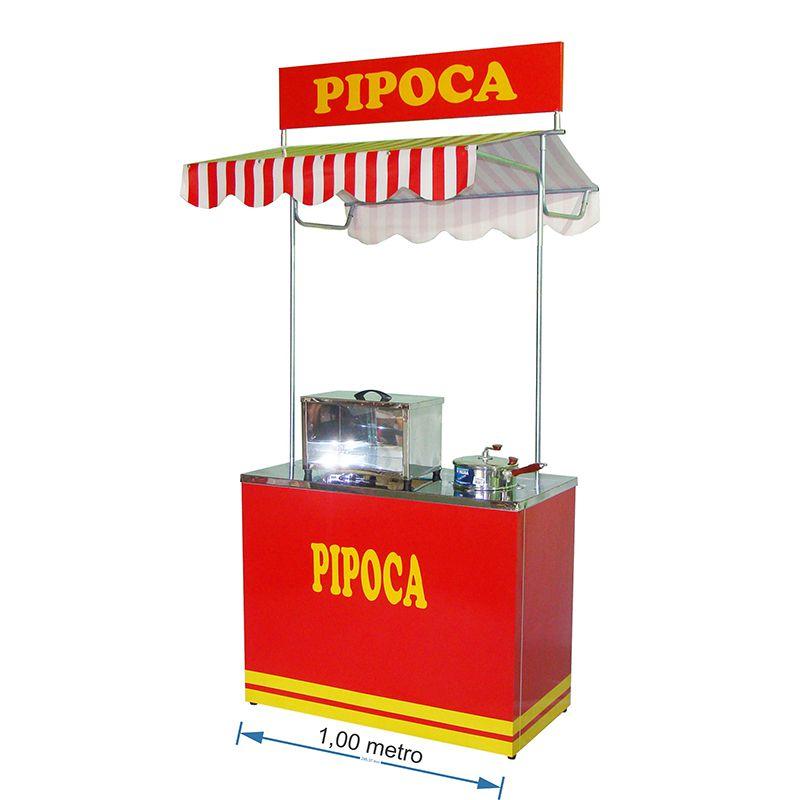 Barraca de pipoca com a caixa inox e panela pipoqueira Pipocar 30032