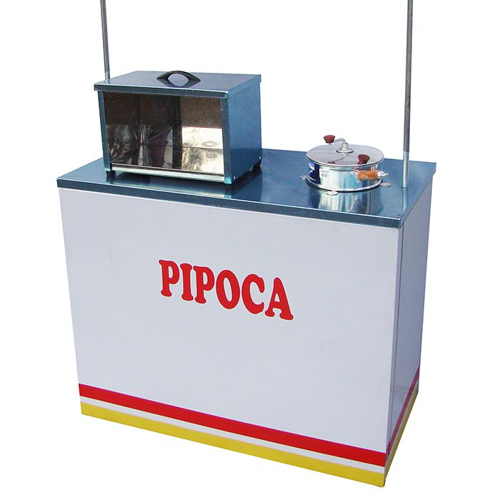 Barraca de pipoca com a mesa inox e 1 panela e caixa inox Pipocar 30031