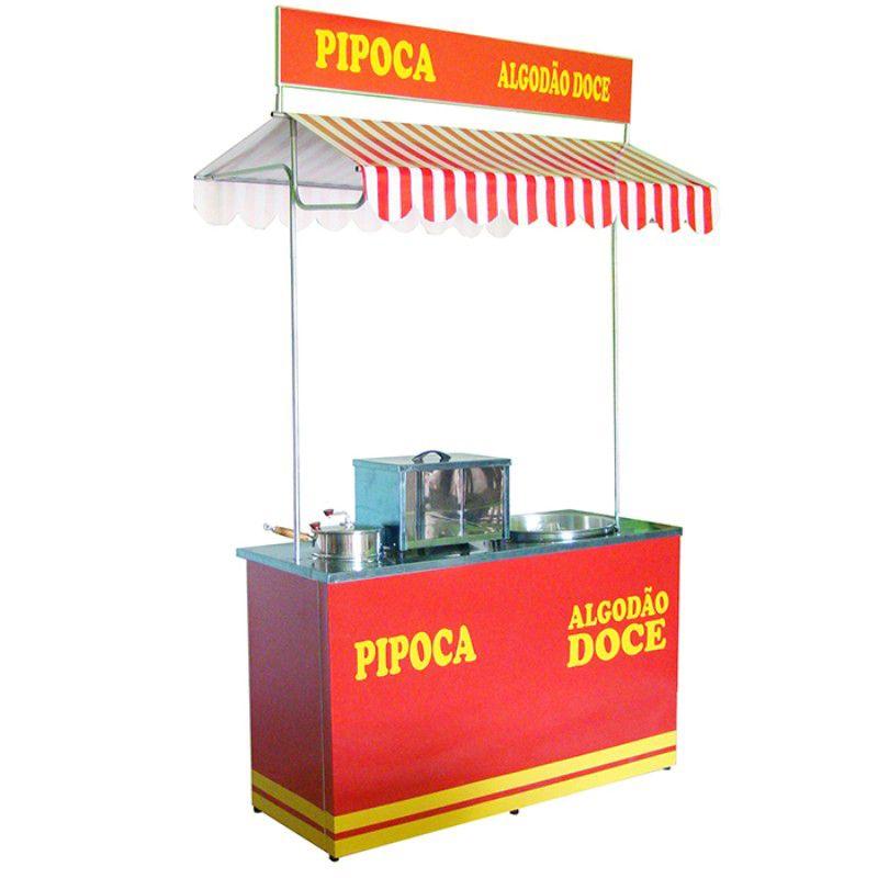 Barraca de pipoca e algodão doce com caixa inox  sem máquina Pipocar 30232