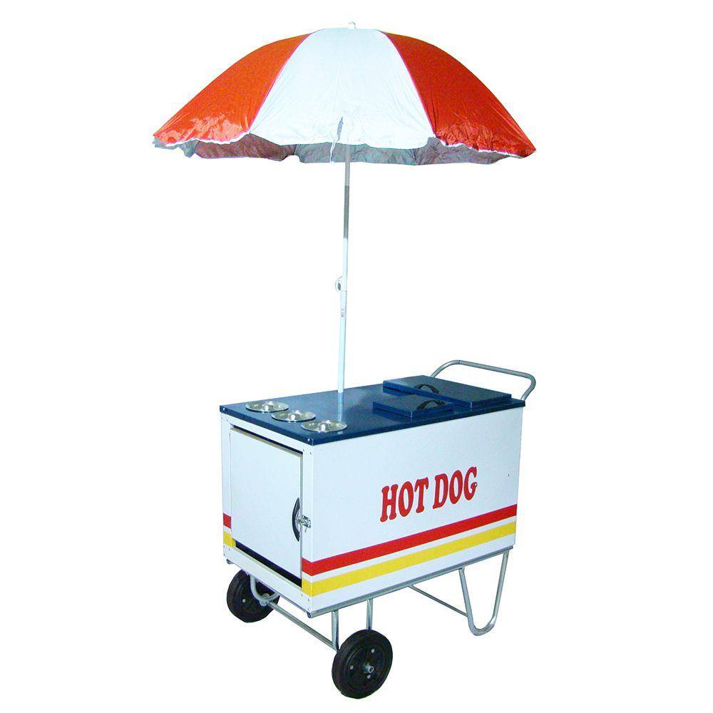 Carrinho de cachorro quente especial com duas cubas de cozimento  + guarda sol Modelo 42071 branco