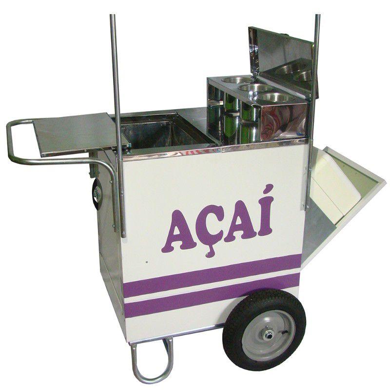 Carrinho de açai com caixa térmica em aço inox e rodas pneumática Pipocar 42171 branco