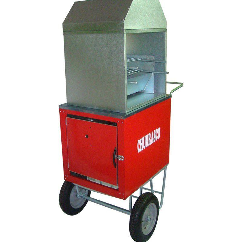 Carrinho de churrasco com rodas pneumática e com churrasqueira + guada sol Modelo 42912 vermelho