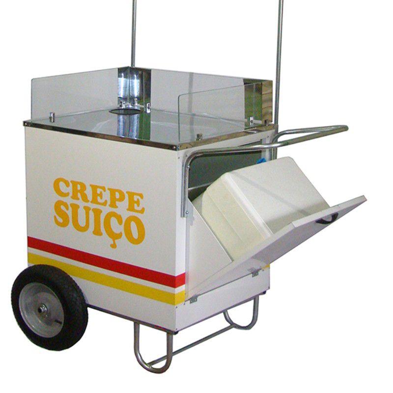 Carrinho de crepe suiço com roda pneumática sem a máquina crepe Pipocar 42101 branco