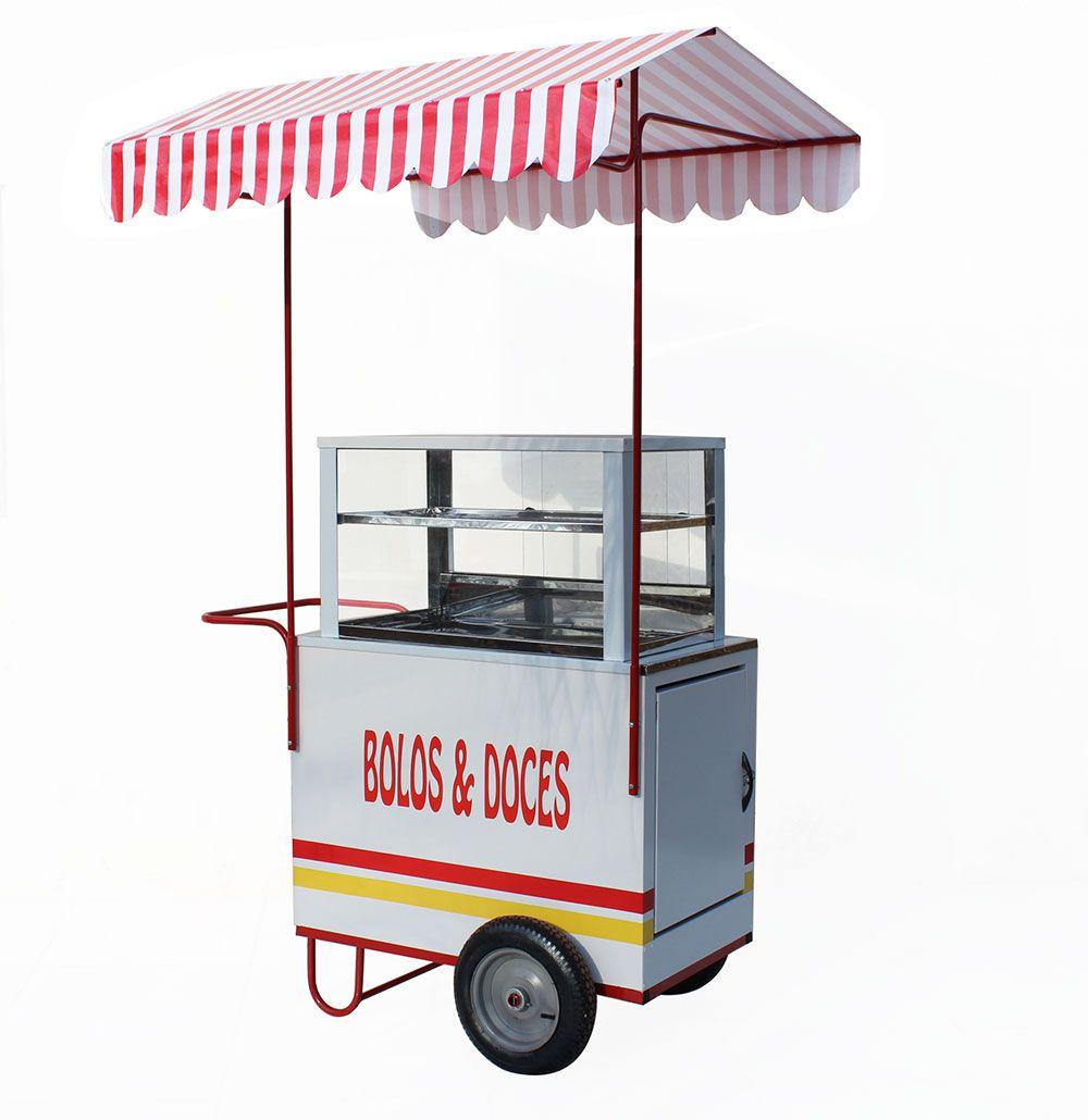 Carrinho de doces e bolos com abertura lateral e rodas pneumática Pipocar 42531 branco