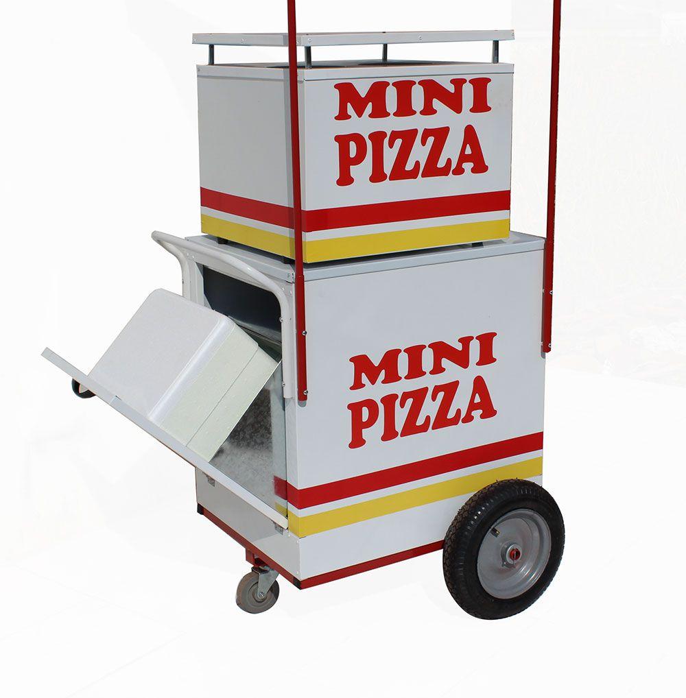 Carrinho de mini pizza rodas pneumática e com forno de alta temperatura Pipocar 42201 branca
