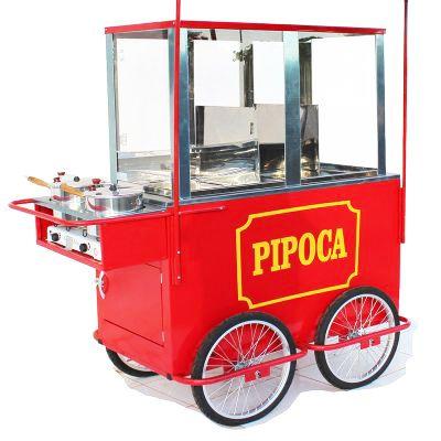 Carrinho de pipoca com 4 rodas aro 20 e 3 divisões para pipocas  2 panelas med. 1.50 mt x 0,70 cm - PIPOCAR 4256