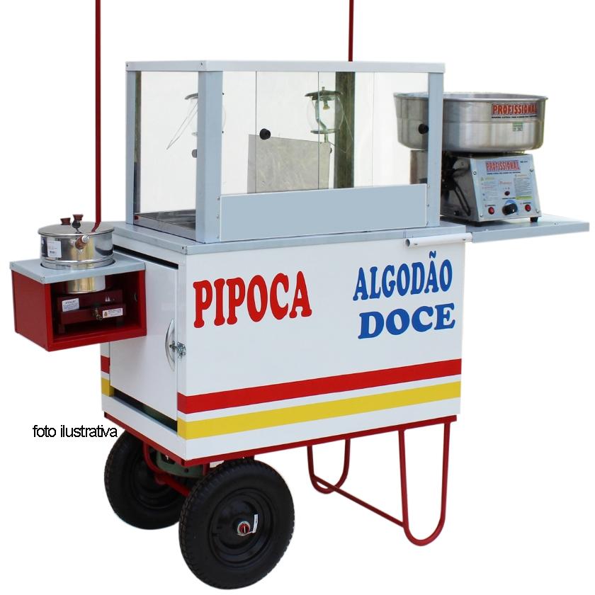Carrinho de pipoca com a máquina algodão doce e com 2 lampiões e toldo desmontável MD 4221
