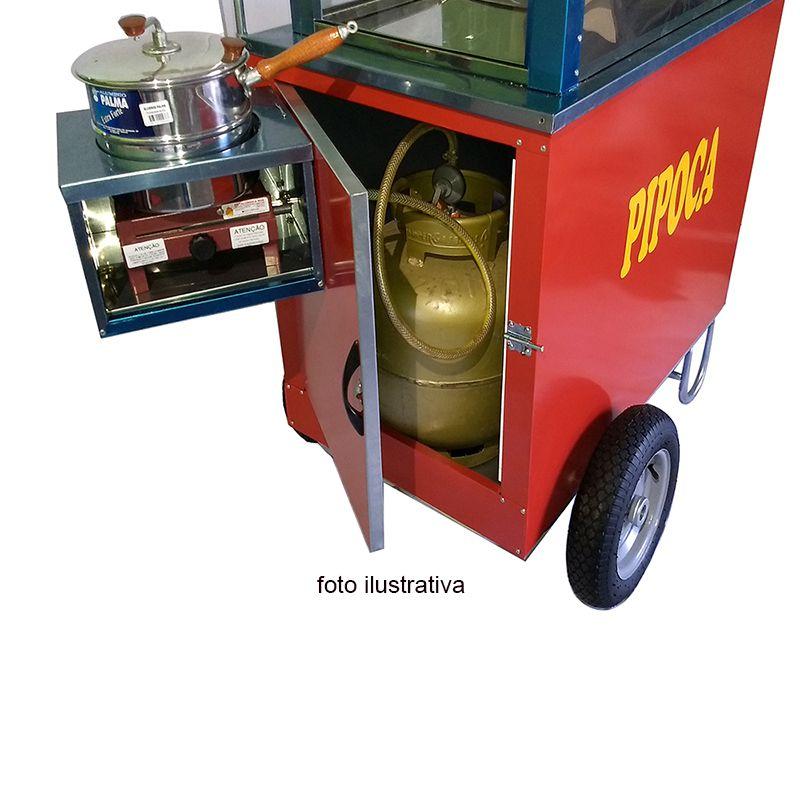 Carrinho de pipoca com vitrine dupla abertura lateral e rodas pneumática Pipocar 42252 Vermelho