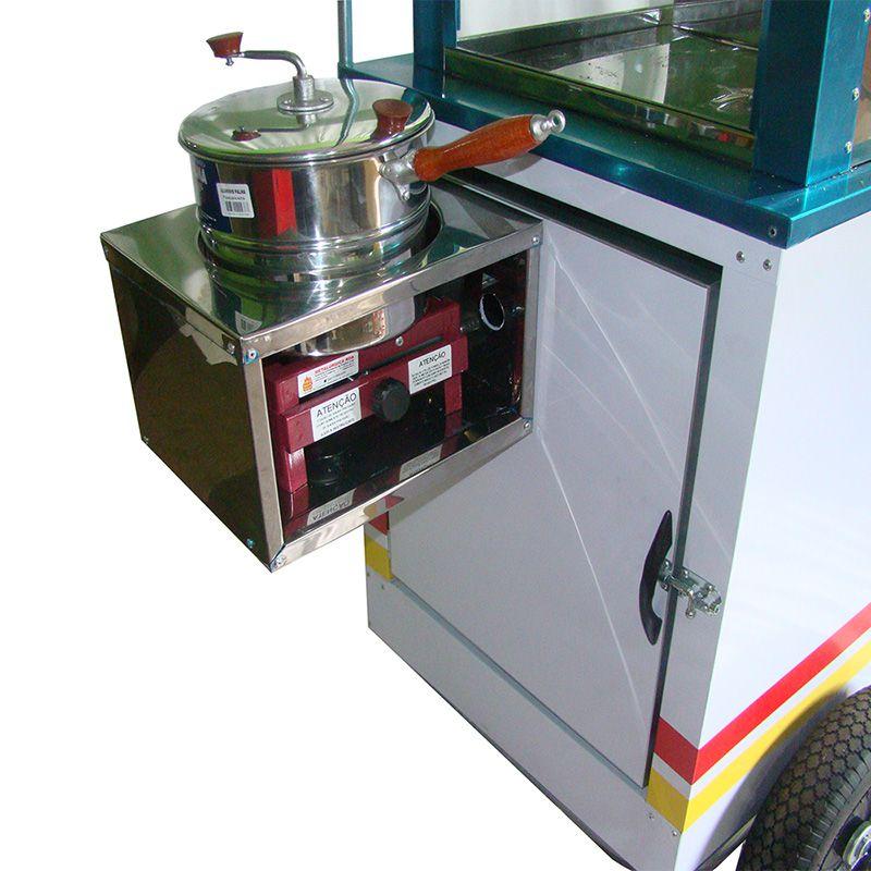 Carrinho de pipoca com vitrine dupla abertura lateral e rodas pneumática Pipocar 42251 branco