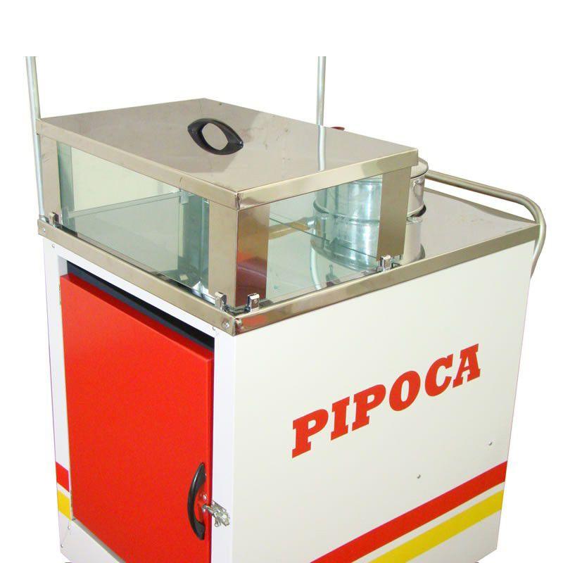 Carrinho de pipoca doce a salgada com a vitrine abertura superior Pipocar 42141 branco