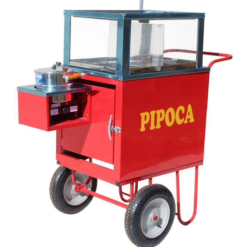 Carrinho de pipoca  doce e salgada abertura superior  guarda sol Pipocar 42152 vermelho