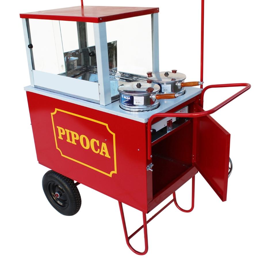 Carrinho de pipoca doce e salgada com 2 panelas pipoqueiras e rodas pneumática Pipocar 10262 Vermelho