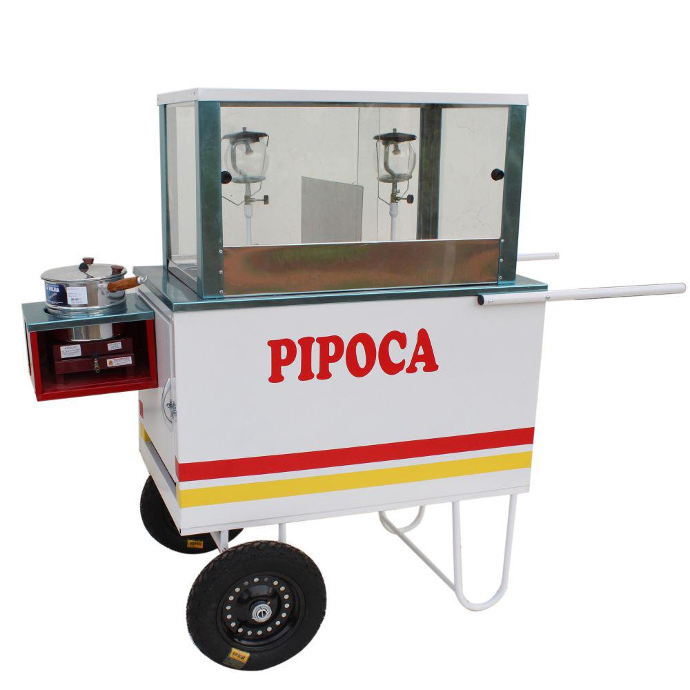 Carrinho de pipoca doce e salgada com abertura lateral e 2 lampiões - Pipocar  MD 4222