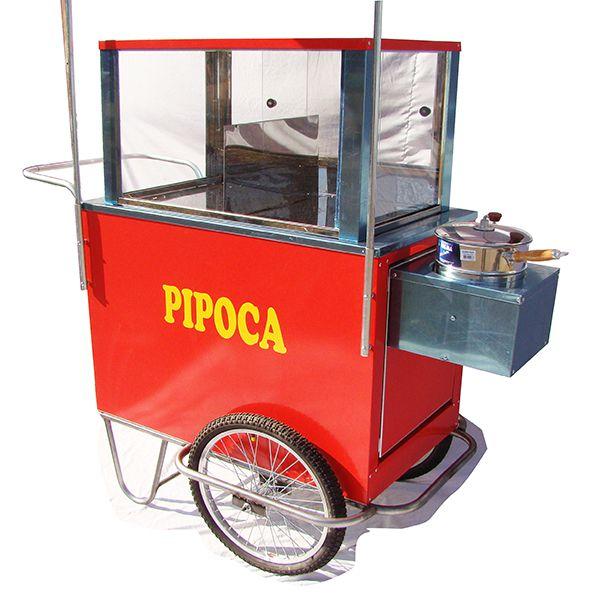 Carrinho de pipoca doce e salgada abertura lateral rodas aro 20 Pipocar 42962 vermelho