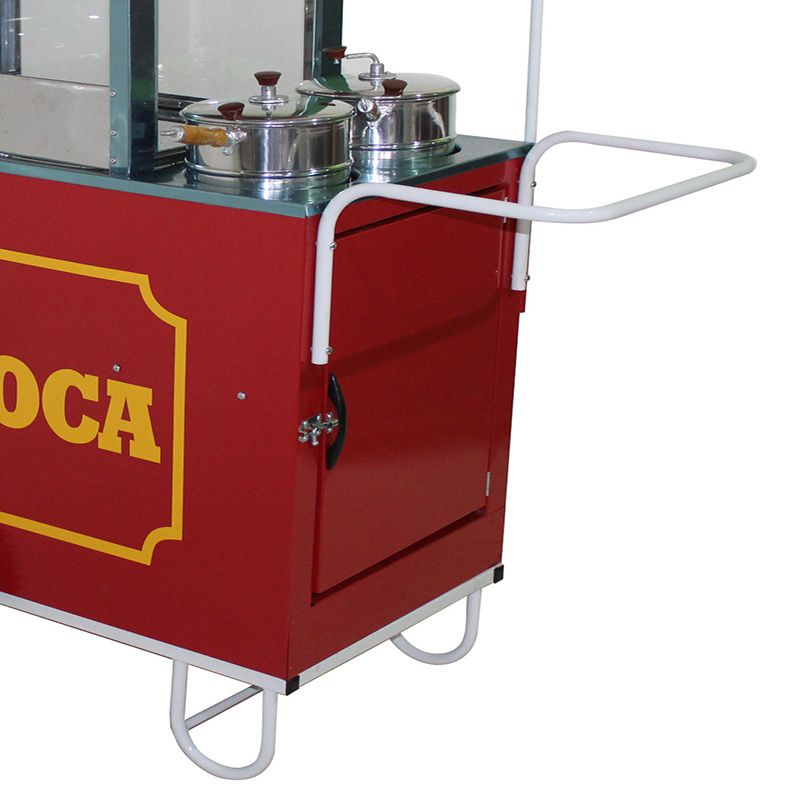 Carrinho de pipoca doce e salgada com 2  pipoqueiras rodas pneumática Pipocar 42262 vermelho