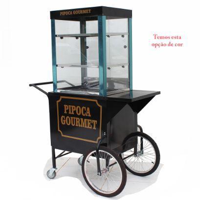 Carrinho de pipoca gourmet retro com vitrine  3 divisões - Modelo 4245