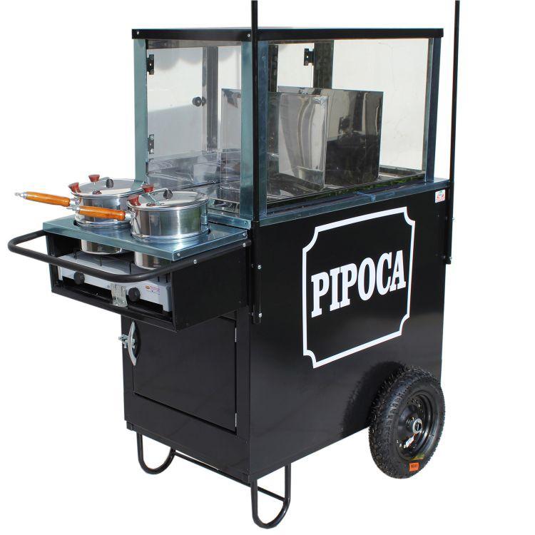 Carrinho de pipocas com 3 divisões  para pipocas doce e salgadas com 2 panelas Med. 1.20 MT X 0,70 Cm - Pipocar 4223