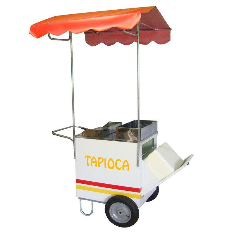 Carrinho de tapioca com caixa térmica com rodas pneumática + toldo desmontável Modelo  42161 branco