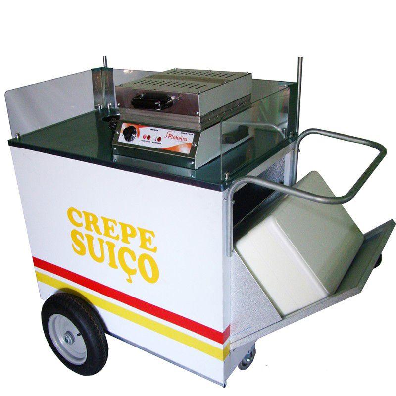 Carrinho de crepe suiço com rodas pneumática sem a máquina crepe Pipocar 42351 branco