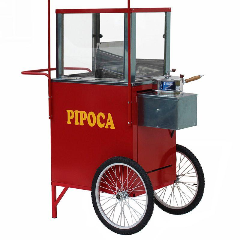 Carrinho de pipoca com roda aro 20 com vitrine para pipocas doce e salgada Pipocar 42402