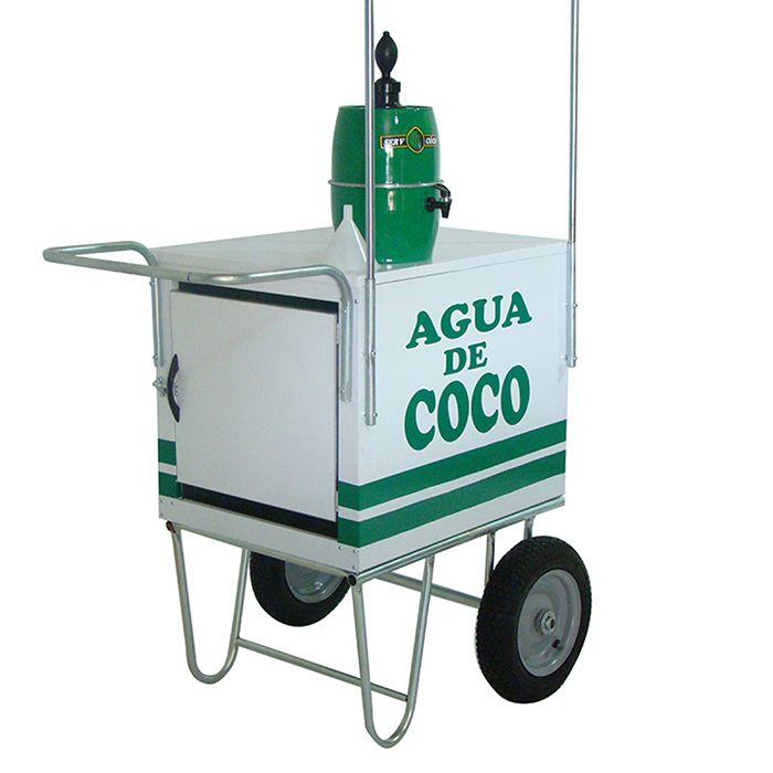 Carrinho de água de coco rodas pneumática e suporte para gelar água + toldo desmontável Modelo 42971 branco