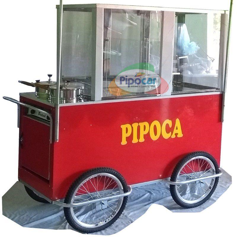 Carrinho de pipoca com 3 divisões com 4 rodas pneumática aro 20 Pipocar 42552 vermelho