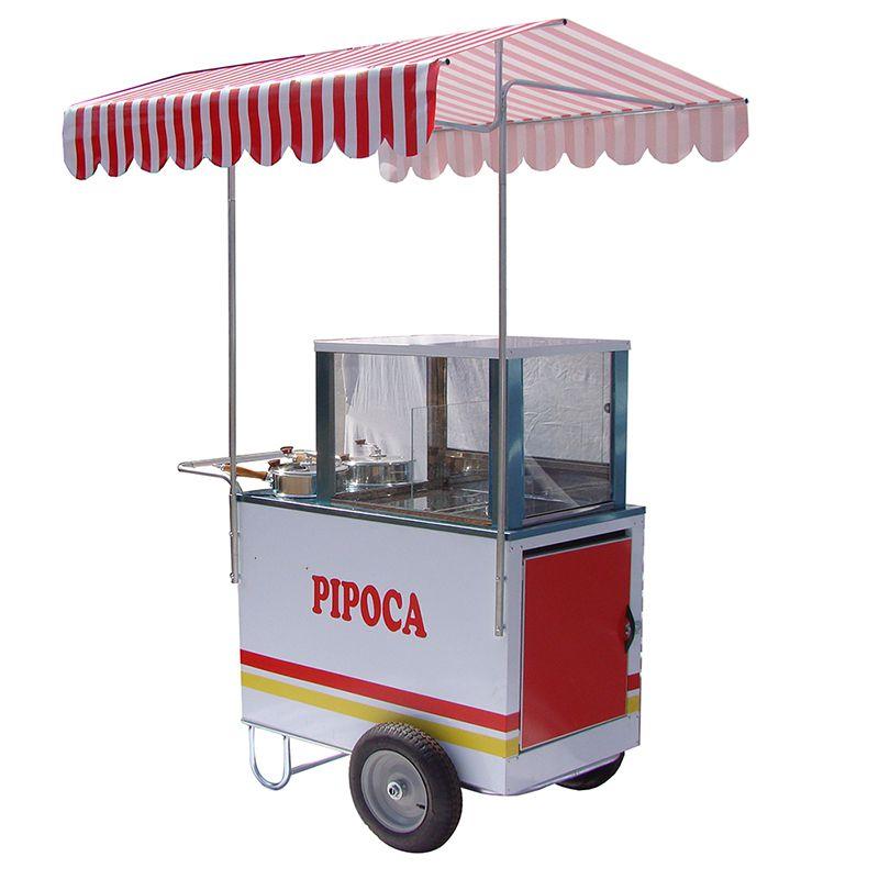 Carrinho de pipoca doce e salgada com 2 pipoqueiras Pipocar 42261 branco