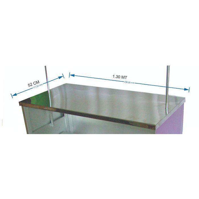 Mesa em aço inox 1.30 X 0,50 cm para barraca buffet dupla multiuso Modelo 9113 - Pipocar