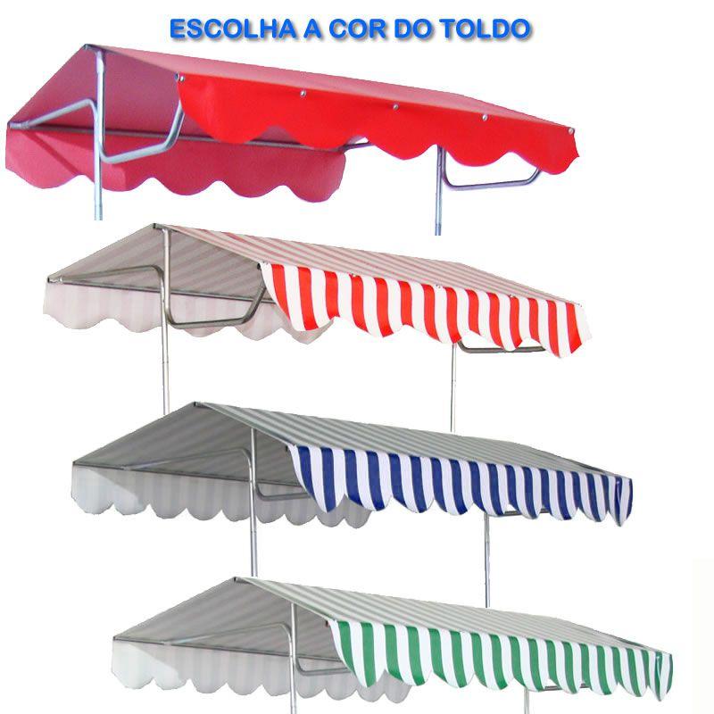 Toldo de barraca buffet 1.00 x 0,55 cm cores diversas Modelo 9010  Pipocar