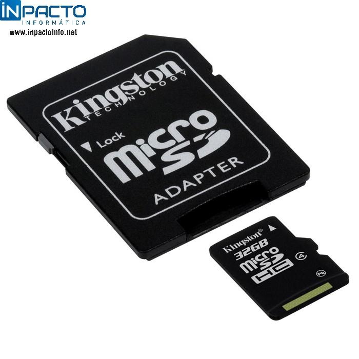 CARTÃO MEMORIA KINGSTON SDC4 32GB MICROSD/SD - In-Pacto Informática