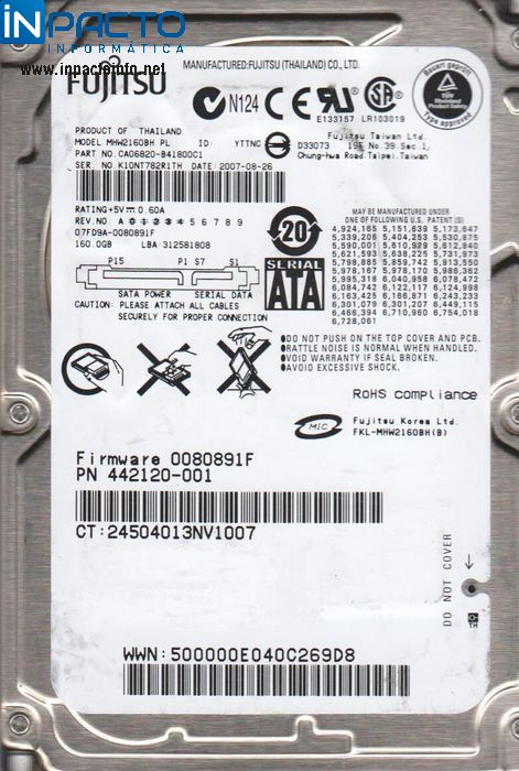 HD NOTEBOOK SATA 160GB FUJITSU - In-Pacto Informática