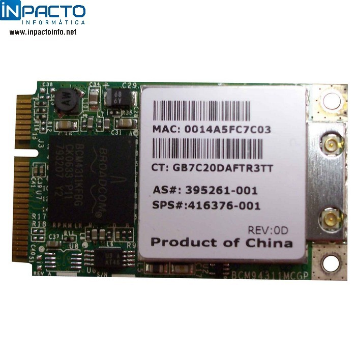 PLACA WIRELESS MINI PCI BROADCOM B/G - In-Pacto Informática