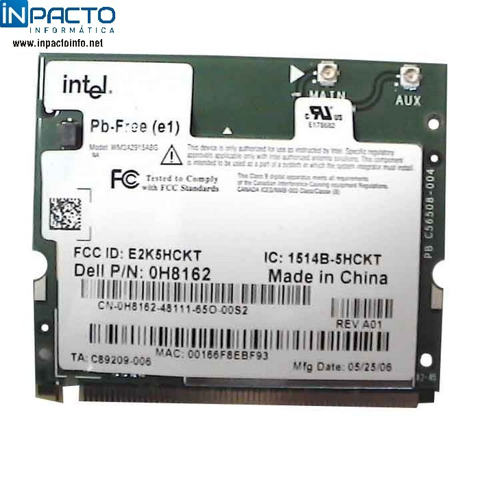 PLACA WIRELESS INTEL MINI PCI-E - In-Pacto Informática