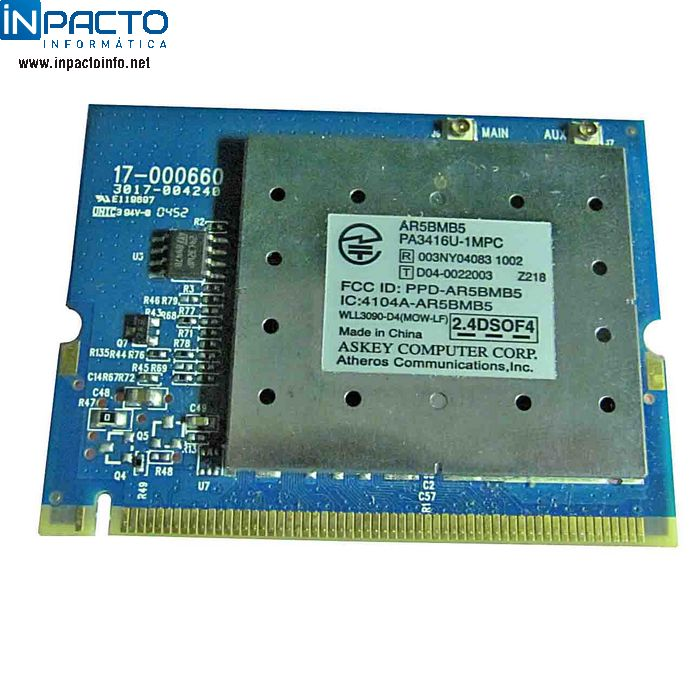 PLACA WIRELESS CARD MINIPCI  ATHEROS AR5BMB5  - In-Pacto Informática