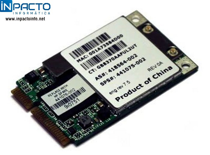 PLACA WIRELESS MINI PCI HP BROADCOM A/B/G - In-Pacto Informática