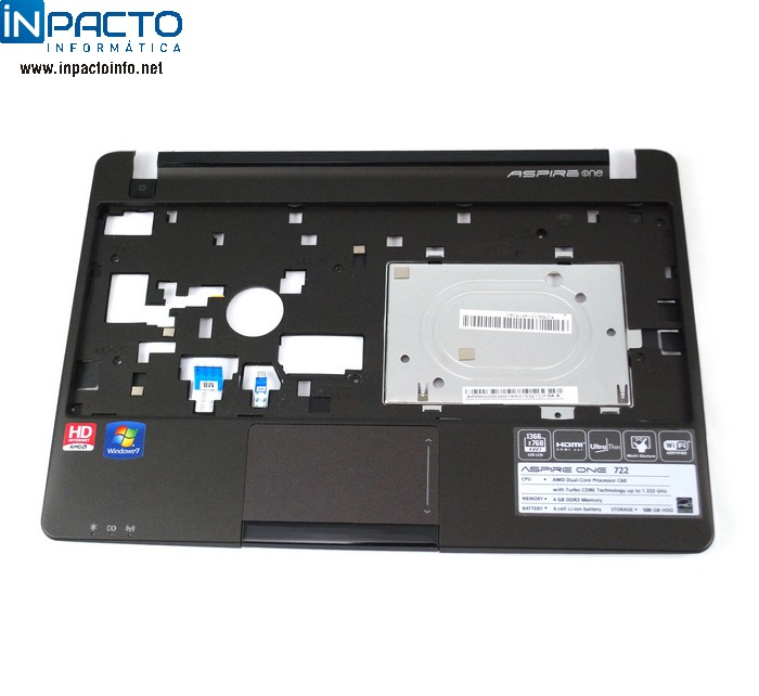 CARCAÇA BASE SUPERIOR C/TOUCHPAD ACER ONE 722 - In-Pacto Informática