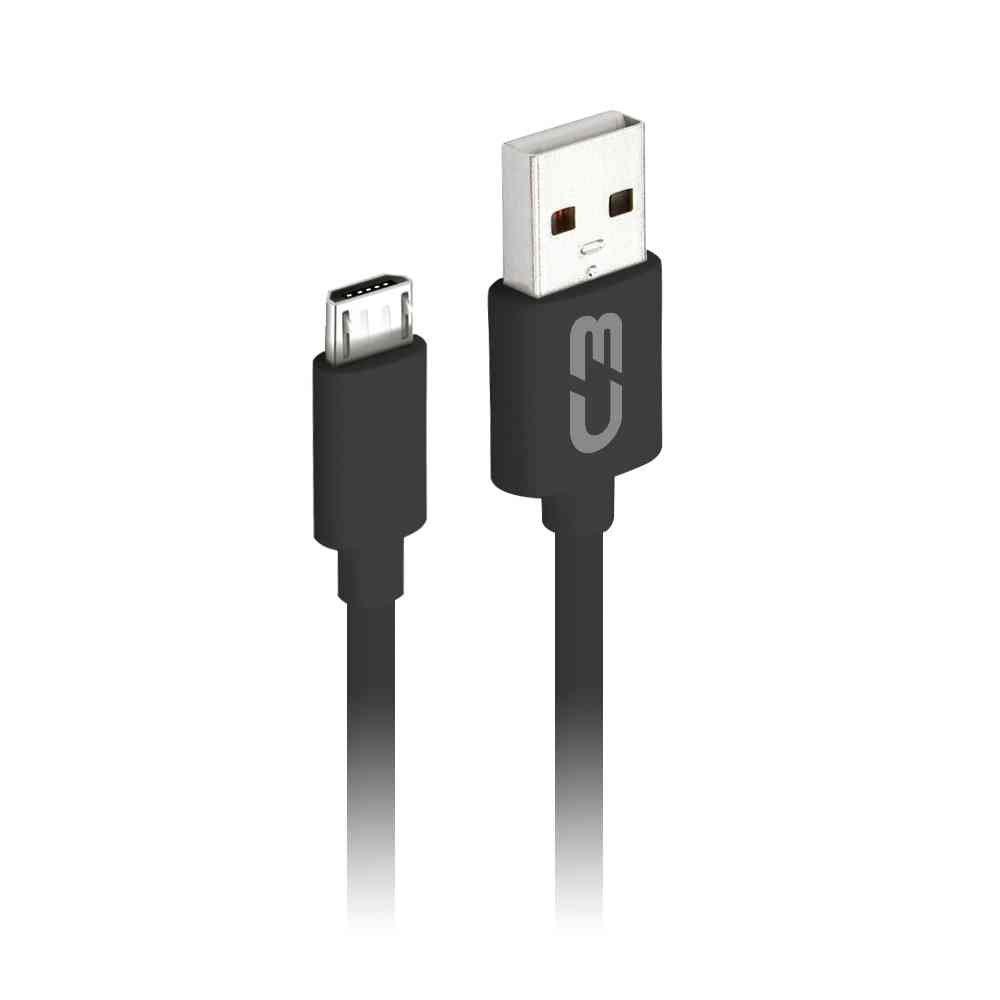 CABO MICRO USB 2.0 AM x USB 1m PRETO CB-M10BKX C3 PLUS - In-Pacto Informática