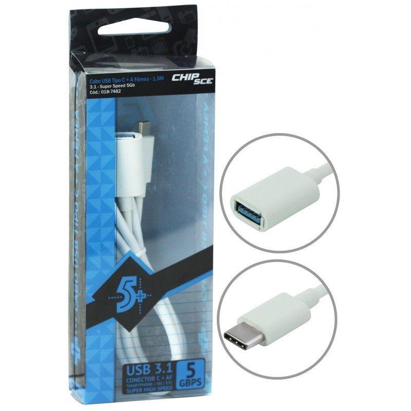 CABO USB TIPO C + A FEMEA 1,5M USB 3.1 CHIPSCE