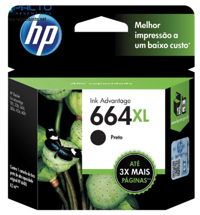 CARTUCHO HP 664XL (F6V31AB) PRETO ORIGINAL