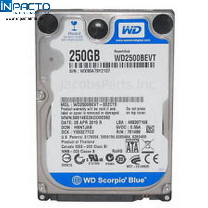 HD NOTEBOOK SATA 250GB WD WD2500BEVT (USADO) - In-Pacto Informática