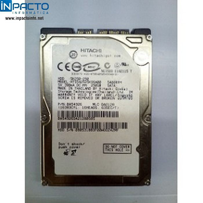 HD NOTEBOOK SATA HITACHI HTS545025B9SA02 250G - In-Pacto Informática