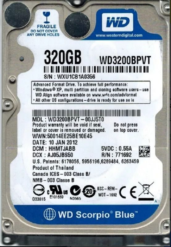 HD NOTEBOOK WD WD3200BPVT 320GB - In-Pacto Informática