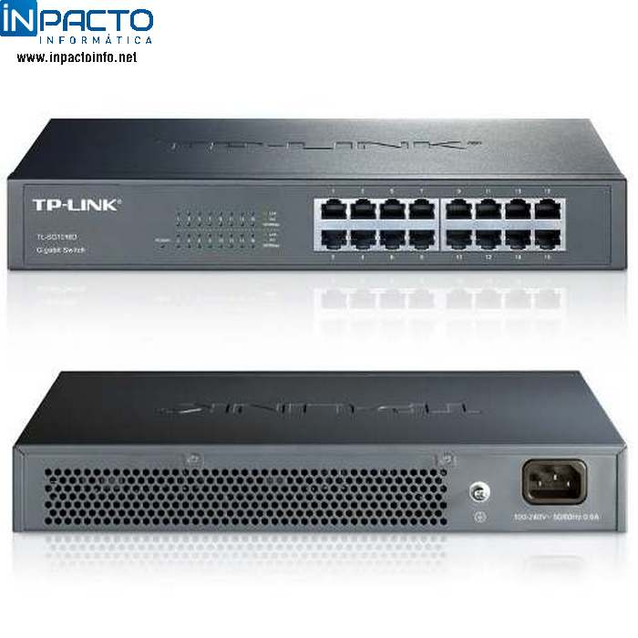 HUB SWITCH TP-LINK 10/100/1000 16P TL-SG1016D - In-Pacto Informática