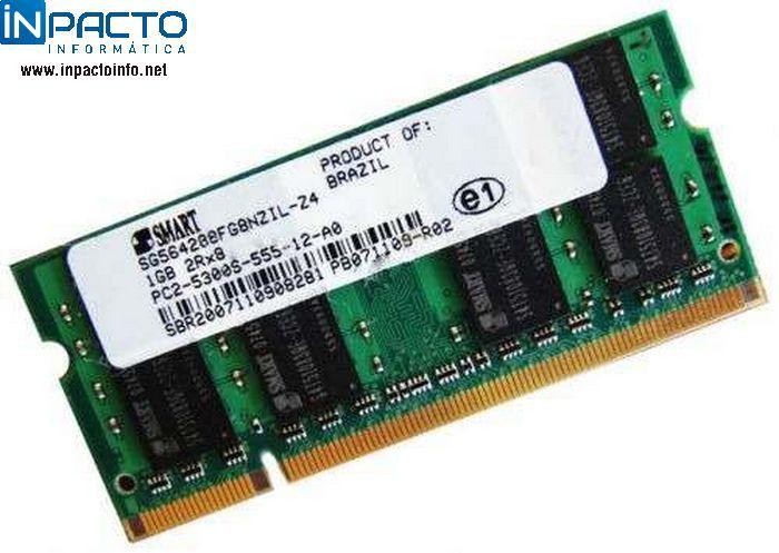 MEMORIA NOTEBOOK 1GB SMART DDR2 667  - In-Pacto Informática