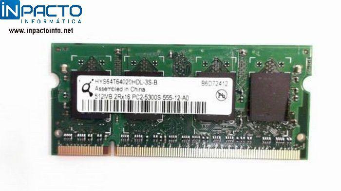 MEMORIA NOTEBOOK 512MB QIMONDA DDR2 667  - In-Pacto Informática