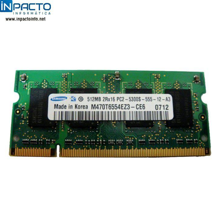 MEMORIA NOTEBOOK 512MB SAMSUNG DDR2 667 - In-Pacto Informática