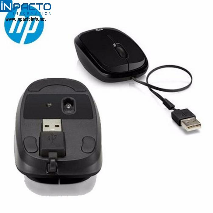 MOUSE HP RETRATIL X1250 PRETO - In-Pacto Informática