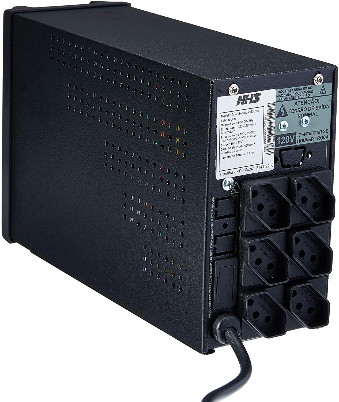 NOBREAK NHS MINI III 600VA 1x7Ah BIV/120V PRETO  - In-Pacto Informática