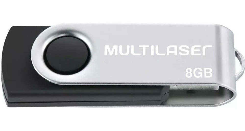 PEN DRIVE 8 GB TWIST PRETO USB 2.0 PD587 MULTILASER - In-Pacto Informática
