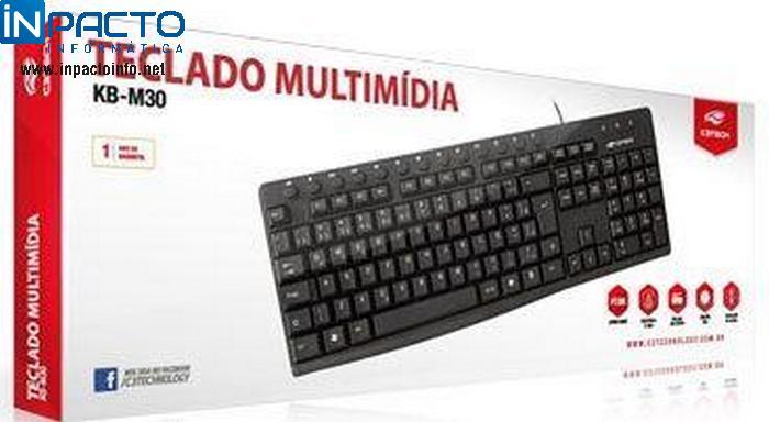 TECLADO MULTIMIDIA C3TECH KB-M30BK PRETO USB - In-Pacto Informática